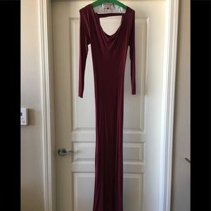 Burgundy maxi dress with low back
